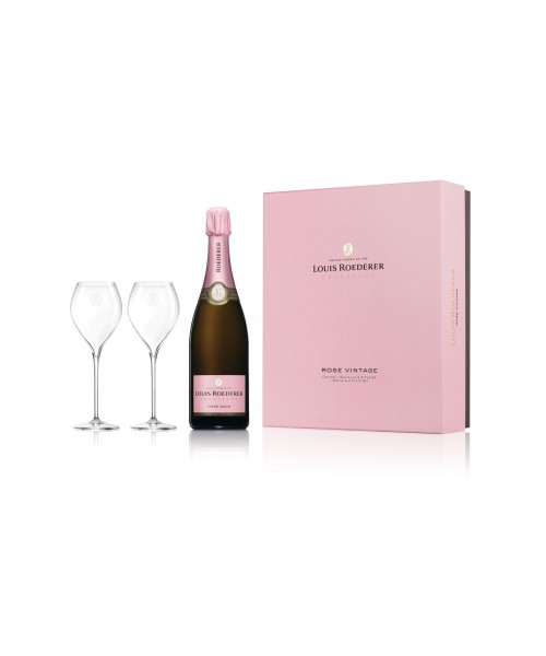 LOUIS ROEDERER BRUT ROSE VINTAGE 2010 0.75 cl with box and two glasses
